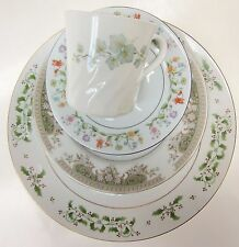 Mismatch China Place Setting Plate Saucer Cup Green Holly Shabby Chic Vintage