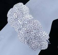 LEAVES BRIDAL AUSTRIAN CRYSTAL BANGLE BRACELET CUFF SILVER WEDDING PROM B12115