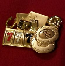 Vintage Gambling  Brooch Colored Enamel Lucky Sevens Gaming Pin Gold Tone