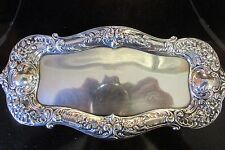 Antique Gorham Sterling Silver Reprosse Butter tray Rose
