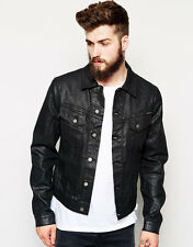 NEW Mens NUDIE jeans Black Denim jacket Coated Wax L RIDERS Trucker Perry £150+