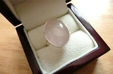 LARGE OVAL CABOCHON PINK ROSE QUARTZ 925 STERLING SILVER RING SZ O - O1/2 - 7.5
