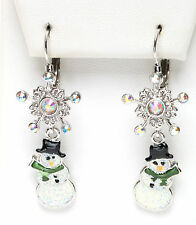 KIRKS FOLLY POLAR EXPRESS SNOWMAN SNOWFLAKE LEVERBACK EARRINGS  never released