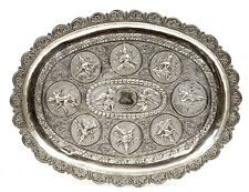 Old India Indian Hindu Repousse Sterling Silver Tray Plate Buddha Angel Figure