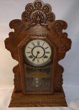 LM ANTIQUE Ansonia Parlor Gingerbread Shelf Mantle Ship USA Alarm Clock RUNS!