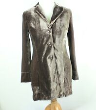 Coldwater Creek 8 S Small Velvet Jacket Brown Trench Maxi Long Coat Cardigan