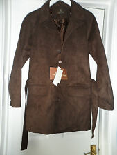 Bnwt new Emporio fashion men`s brown suede feel belted jacket size large