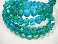 25 Capri Blue and Green Czech Glass Rondelle Beads 8x6mm