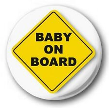 "BABY ON BOARD - 25mm 1"" Button Badge - Novelty Cute YELLOW"