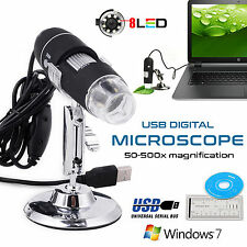 50-500X USB Microscope 8 LED Digital Endoscope Magnifier Camera Black New Stock