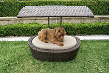 Wicker Dog Puppy Cat Pet Sun Bed House with Canopy & Pad Cushion