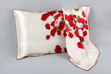 100% Silk Pillowcase White with Red Rose Print PC34