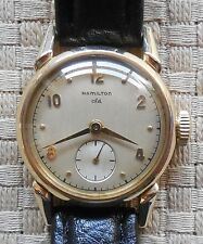Vintage Mens 14K Gold Hamilton cld Mechanical Hand Winding Wristwatch Runs Great