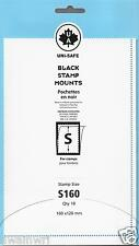 """Uni-Safe """"S"""" Top Opening #160/120 Stamp Mounts (Made in Germany) 10 Black strips"""