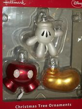 Hallmark Disney Mickey Mouse Shoe Hand Parts 85th Glass Christmas Tree Ornaments