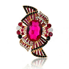 Luxury Vintage Style Rose Fuchsia Pink Crystal Diamante Large Brooch Pin BR285