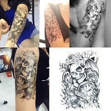 Hot Unisex Black Body Arm Waterproof Skull Temporary Tattoo Nail Art Decoration