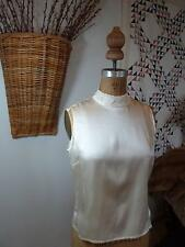 KATE HILL PETITE Ivory Silk Sleeveless Beaded Evening Top Blouse SZ 8P NICE NEW