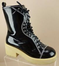 Jeffrey Campbell Wonky Black Patent Leather Mid Calf Fashion Boots Womens 7 M