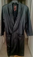 G-III Black Leather Long Sleeve Double Breasted Trench Coat Women's Size M
