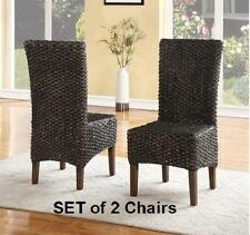 Seagrass Dining Chairs SET OF 2 Woven w/ Wood Frame Kitchen Seating Rich Finish