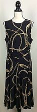 $139 Lauren Ralph Lauren Dress Size 16 Black Gold Chains Belt Sleeveless