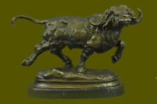 Bronze Sculpture Cape Water Buffalo  Hunter Hunting Trophy Signed Original Milo