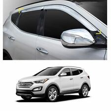 Chrome Sun Side Window Visor Vent Guards Rain for Santa Fe SPORT 2013-2017