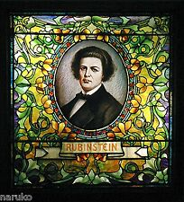 TIFFANY STUDIOS MUSICIANS STAINED LEADED GLASS WINDOW OF ANTON RUBINSTEIN