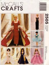 "McCalls 2505 11.5"" Fashion Doll Clothes Pattern Evening Dress Wedding Ballerina"