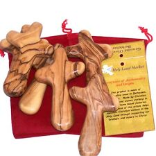 Six Olive wood holding Comfort Crosses with Velvet bags & Lord's Prayer cards