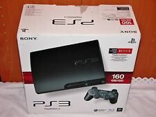 Sony PlayStation 3 Slim 160 GB Charcoal Black Console in Original Box.