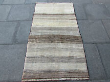 Old Traditional Hand Made Persian Oriental Gabbeh Rug Wool Grey Cream 172x100cm
