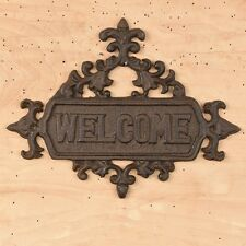 """Cast Iron ~  VINTAGE WELCOME WALL/DOOR PLAQUE { 11.5"""" x 9"""" } ~ by PLD"""