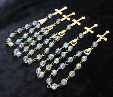 5 Crystal Mini Rosary 10MM bead Color AB Gold Cross jewellery bracelet Case Gift