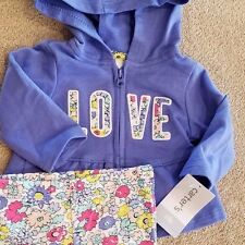 NEW!! CARTER'S NEWBORN 2PC PURPLE LOVE HOODED OUTFIT ADORABLE
