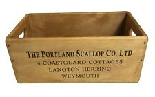 SET OF 5 Rustic Wooden Storage Boxes Trugs Vintage Style Scallops Weymouth Waxed