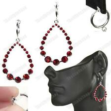"2""long CLIP ON dark RED austrian CRYSTAL EARRINGS rhinestone TEARDROP HOOPS hoop"