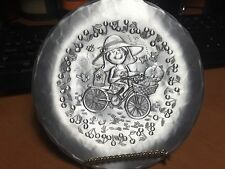 The Forge Handhammered Plate 5 3/4 inch Girl on a bike with cat- pre-owned