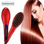 Red Digital Anti Static Ceramic Hair Straightener Heating Detangling Hair Brush