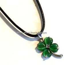 Silver Plated Shamrock Necklace Irish Celtic Green Cats Eye St. Patricks Day USA