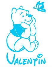 Stickers Winnie l'Ourson 20x33cm prénom et couleur au choix