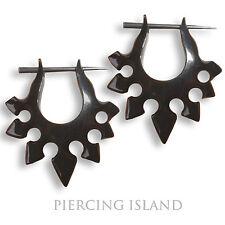 Paar ! Ohrringe Schwarze Creolen Horn Piercing Design Black Horn Earrings ER023