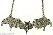 Big Silver  BAT Necklace Pendant Gothic Vampire 5 inches
