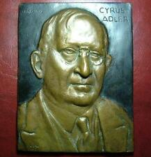 1942 US CYRUS ADLER JEWISH AMERICAN LEADER LARGER PLAQUE MEDAL JUDAICA USA