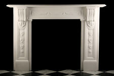 Large Early Victorian Corbel Fireplace in White Statuary Marble, Carved Columns