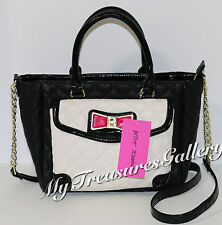 New Betsey Johnson Glitter Enamel Bow Satchel Handbag Shoulder Bag Black/Bone