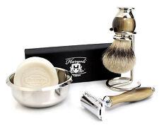 rasoir de sécurité Vintage Double tranchant Lame & Rasage brosse blaireau kit