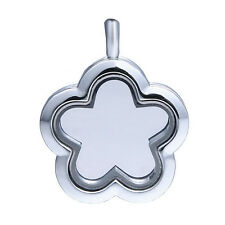 Alloy Silver Glass Floating Flower Shape Charm Memory Locket  with Chain 30mm