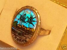 Vintage MORPHO BUTTERFLY WING Souvenir RING PANAMA Adjustable reverse painted